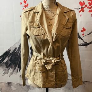 French Cuff tan belted coat size small